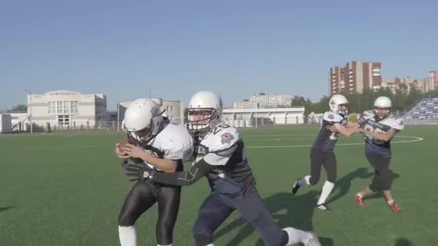 American Football Match In Motion: Stock Video