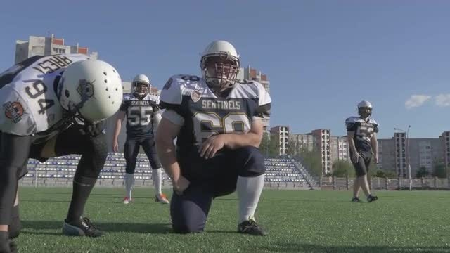 Football Players Before The Game: Stock Video