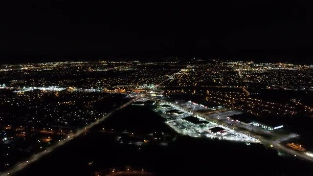 City Lights Night Aerial View: Stock Video