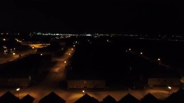 Neighborhood Aerial Shot At Night: Stock Video