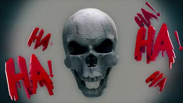 Bloody Laugh Skull VJ Loop: Stock Motion Graphics