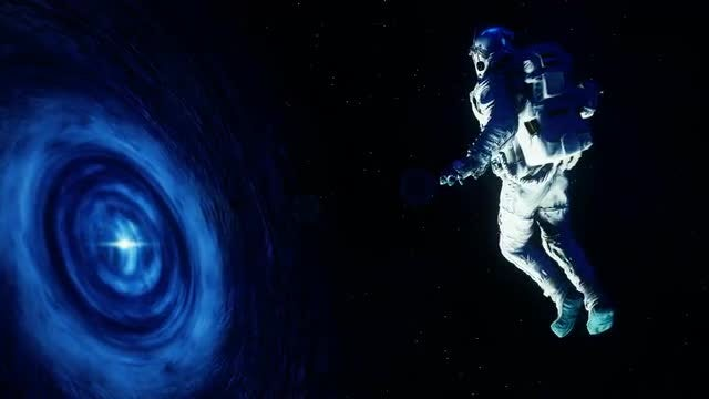 Astronaut Sucked Into Black Hole: Stock Motion Graphics