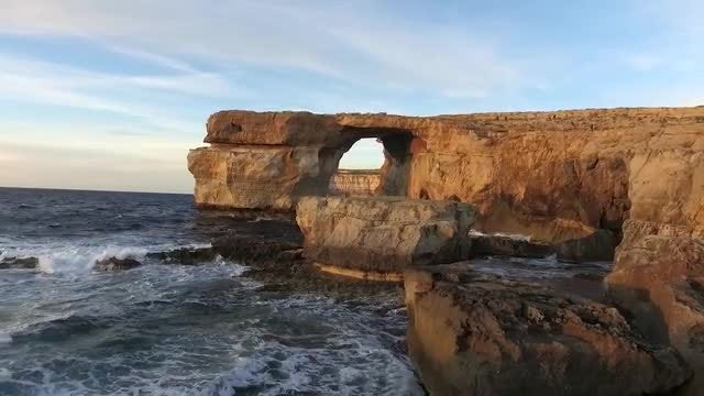 Azure Window, on Gozo Island, Malta.: Stock Video