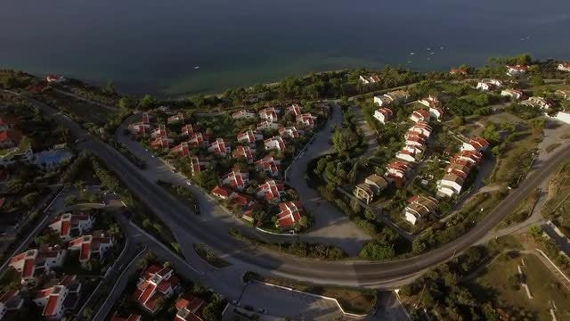Flying Over Trikorfo Beach: Stock Video