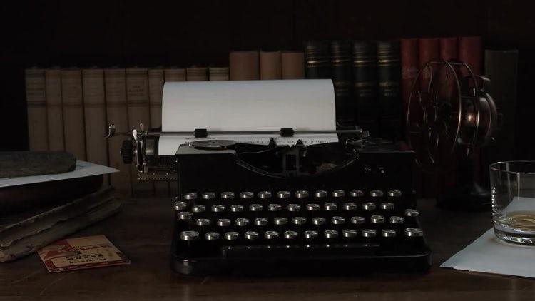 Fireplace Glow On Vintage Typewriter: Stock Video