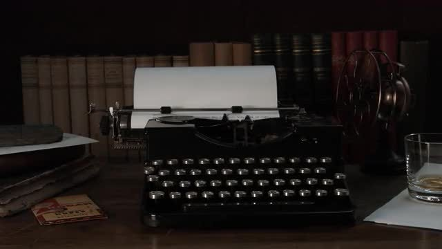 Fireplace Glow On Vintage Typewriter: Stock Video