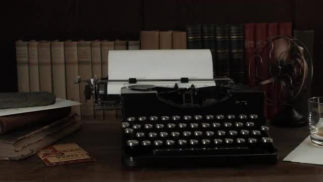 Emergency Light Hitting Vintage Typewriter: Stock Video