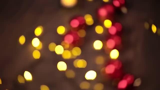 Blurred Christmas Garland: Stock Video