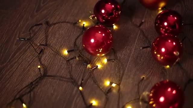 Christmas Balls And Fairy Lights: Stock Video