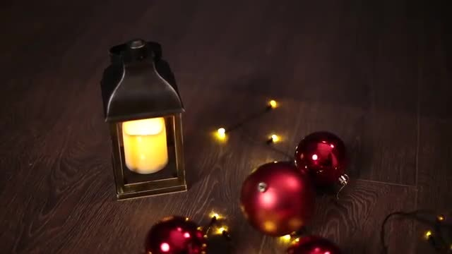 Christmas Lantern And Garlands: Stock Video
