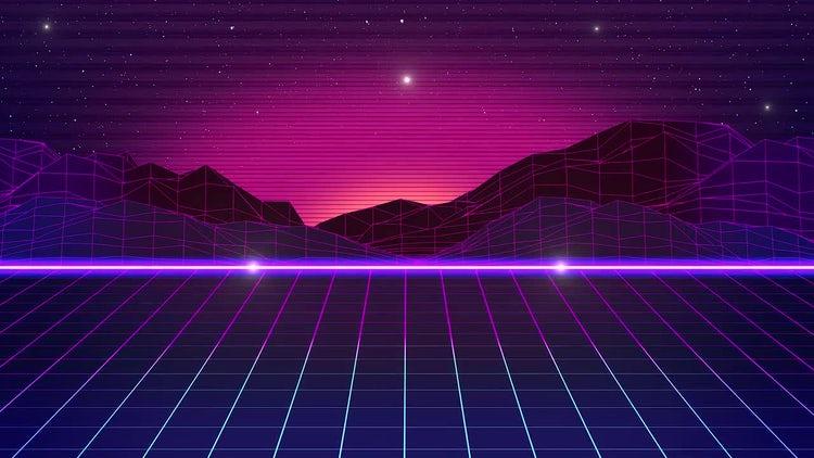 80's Retro Futuristic Looped Background: Stock Motion Graphics