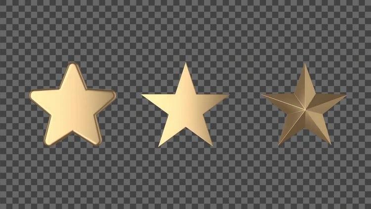 3 Styles Of Golden Stars: Stock Motion Graphics