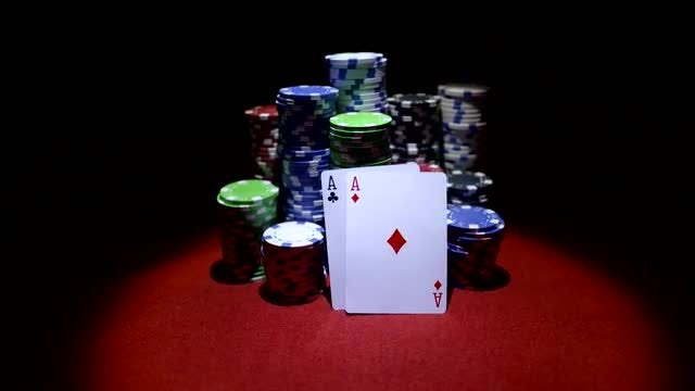 Aces On Poker Chip Stacks: Stock Video