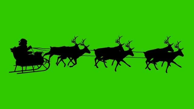 Silhouette Reindeer On Green Screen: Stock Motion Graphics
