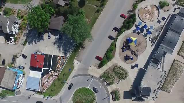 Flying Over Beach Recreation Center: Stock Video