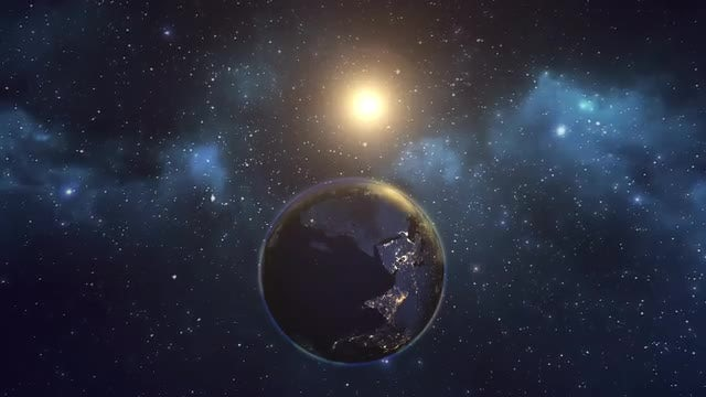 Earth And Sun Space View: Stock Motion Graphics
