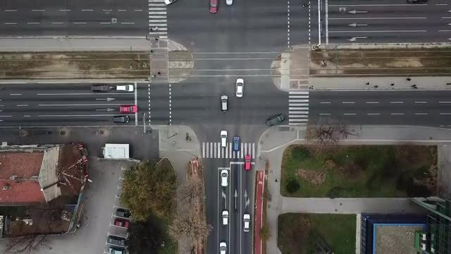 Overhead Shot Of Busy Intersection: Stock Video