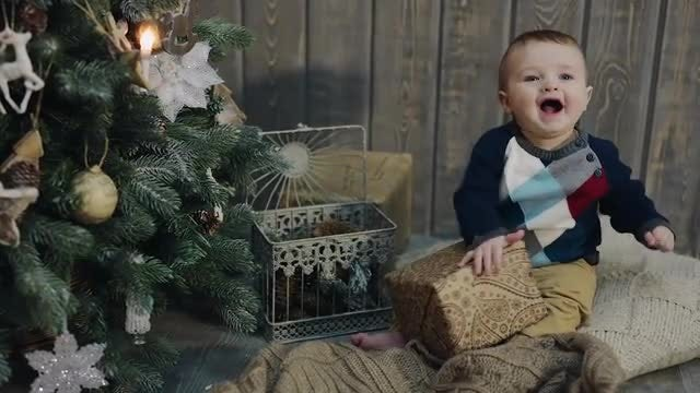 Baby's First Christmas Present: Stock Video