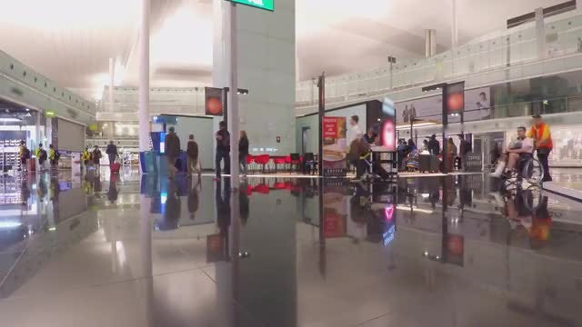 Woman On The Phone At The Airport: Stock Video
