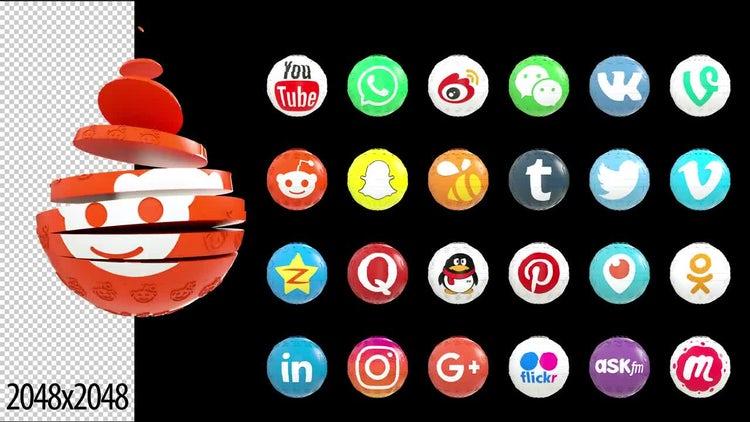 24 Social Media Logo Reveals: Stock Motion Graphics