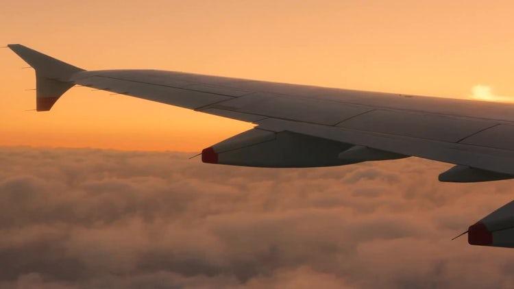Sunset Airplane Window View: Stock Video