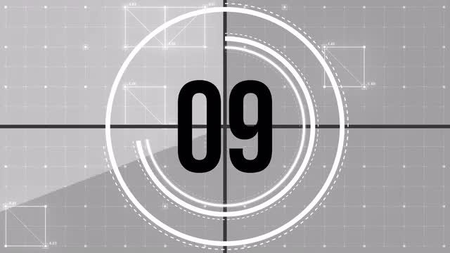 Grid Lines Film Leader Countdown: Stock Motion Graphics