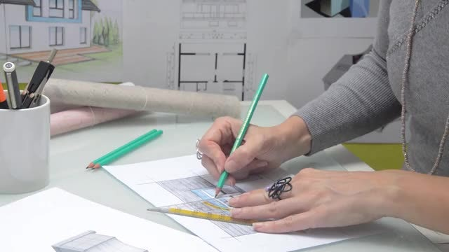Female Architect Drawing: Stock Video