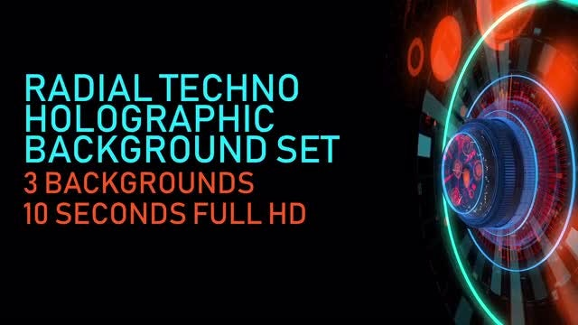 Radial Techno Holographic Background Set: Stock Motion Graphics