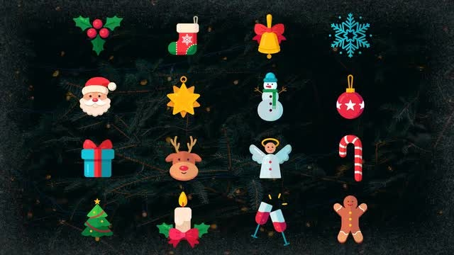 Christmas Pack: 32 Animated Icons: After Effects Templates