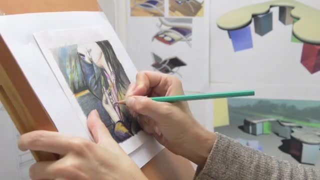 Artist Drawing: Stock Video