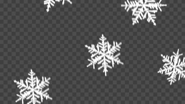 Snowflakes Falling Over Transparent Background: Stock Motion Graphics