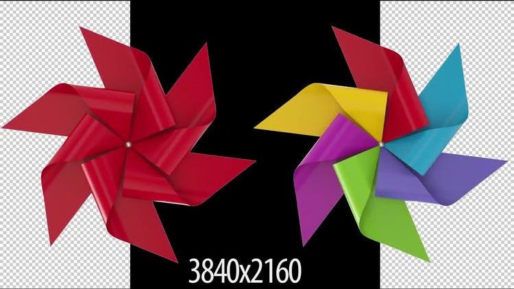 Two 3D Paper Windmills: Stock Motion Graphics