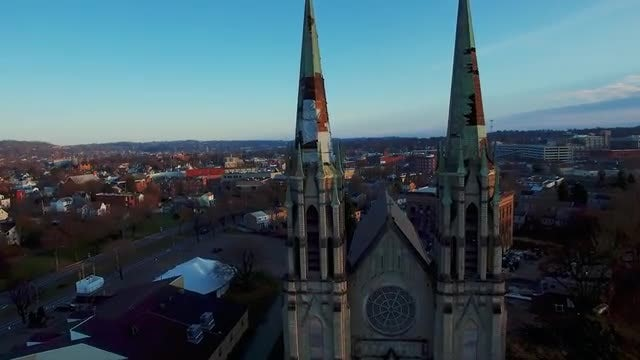 Aerial Shot Of Urban Church: Stock Video