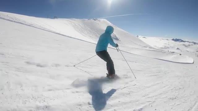 Skier Easily Goes Down Slalom: Stock Video