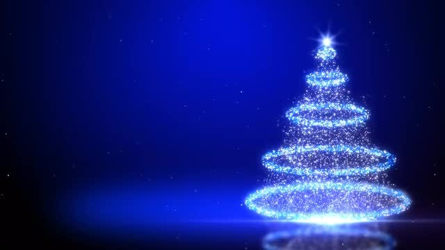 Ringed Particles Christmas Tree: Stock Motion Graphics