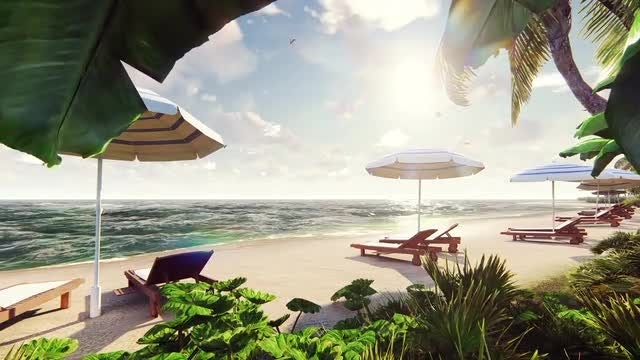 Summer Resort Island With Breeze: Stock Motion Graphics