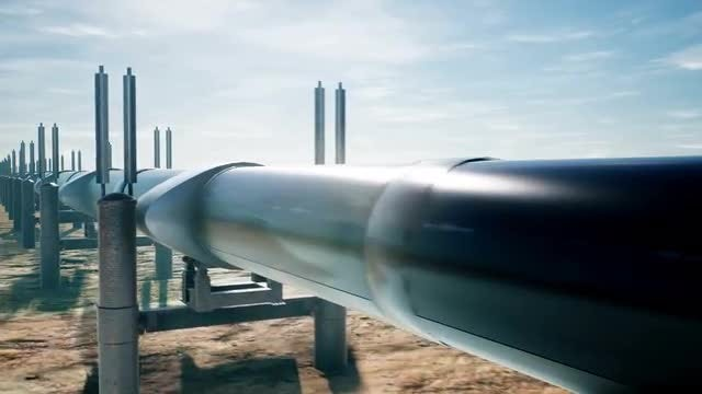 Oil Pipeline Long Pan: Stock Motion Graphics