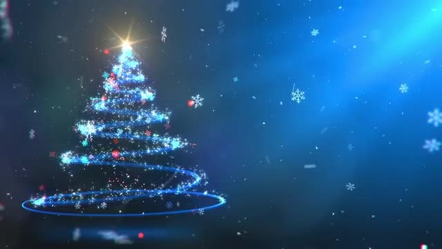 Twirling Particles Magical Christmas Tree: Stock Motion Graphics
