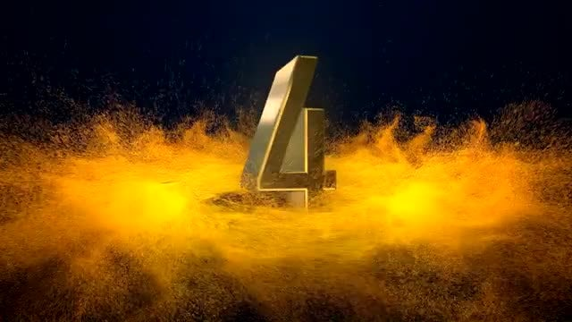 Metallic Gold Numbers Fiery Countdown: Stock Motion Graphics