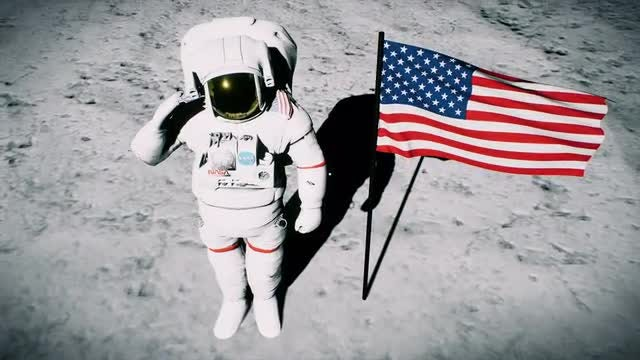 Astronaut Saluting By US Flag: Stock Motion Graphics