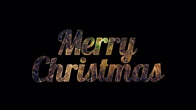 Merry Christmas In Cursive.Cursive Merry Christmas With Pyrotechnics Stock Motion