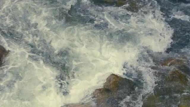 River Rapids Gushing Through Rocks: Stock Video