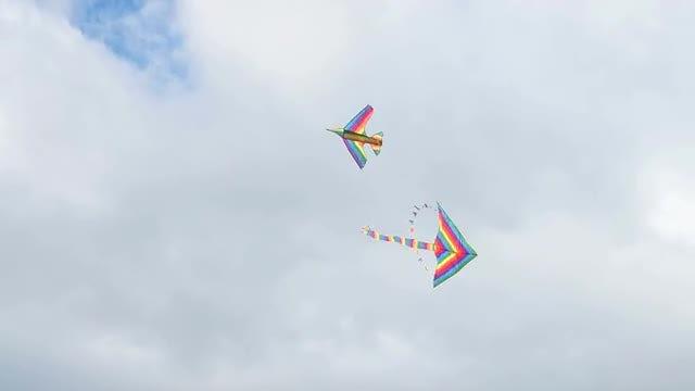 Colorful Kites Flying In Sky: Stock Video