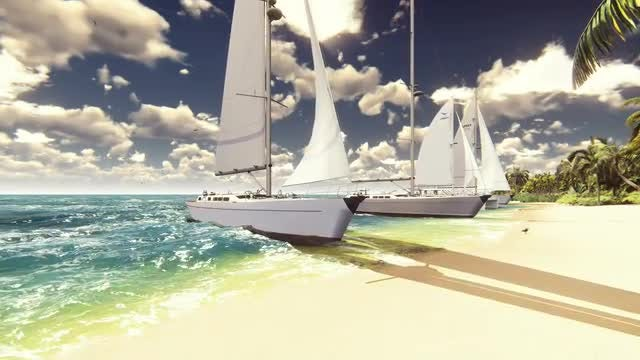Row Of Sailboats On Beach: Stock Motion Graphics