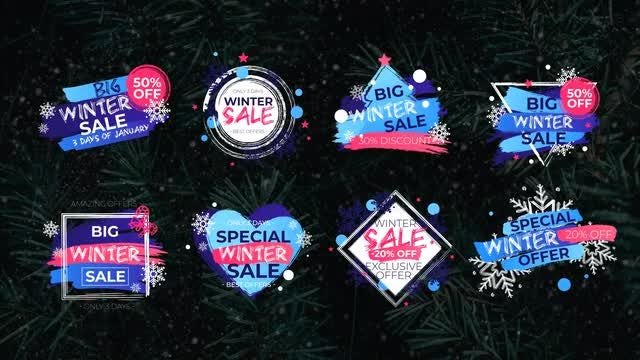 8 Winter Sale Titles: Motion Graphics Templates