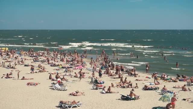 Coastline Crowded Beach: Stock Video