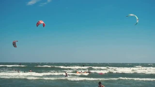 Kites Fly And Swimmers Wade: Stock Video