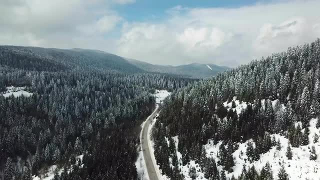 Snowy Mountain Road Aerial: Stock Video