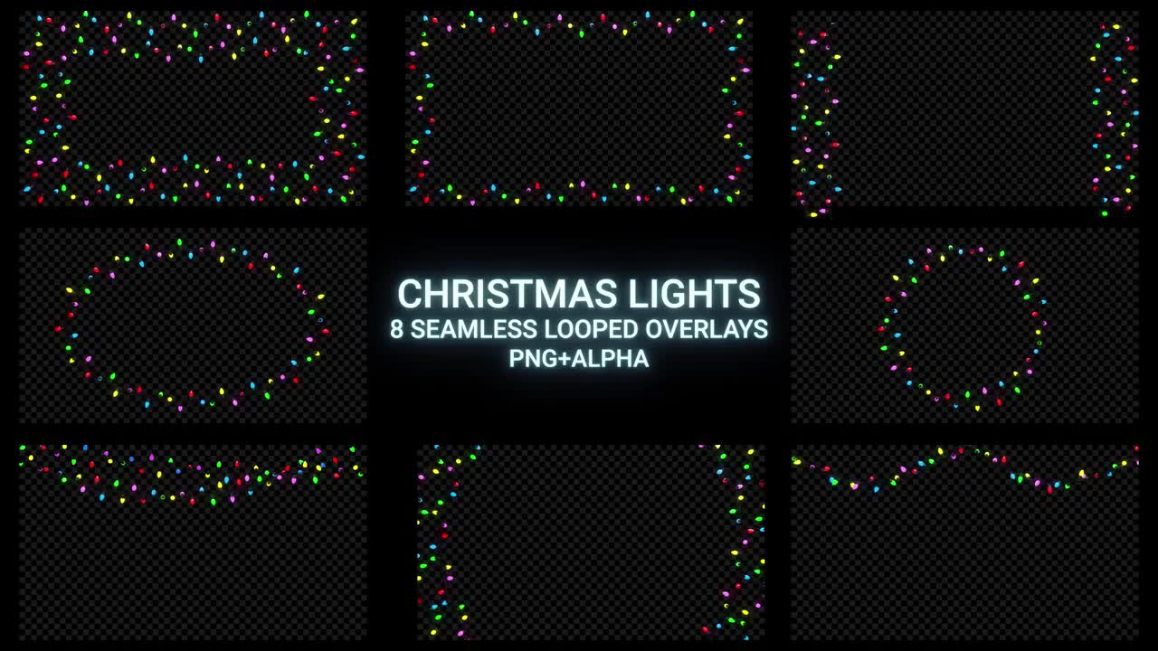 Christmas Lights Overlay Png.Christmas Lights Overlay Pack Stock Motion Graphics