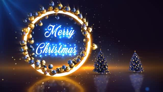 Blue-Gold Merry Christmas Background: Stock Motion Graphics